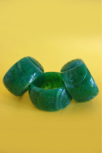 Bow & Crossbones- Chunky Carved Cactus Fakelite Bangle - Green