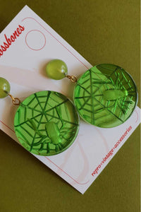 Bow & Crossbones - Spider Web Stud Earrings - Green