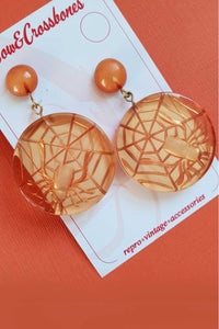 Bow & Crossbones - Spider Web Stud Earrings - Orange
