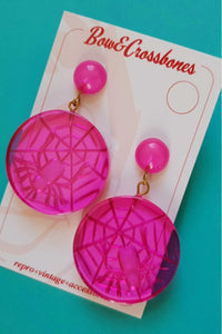 Bow & Crossbones - Spider Web Stud Earrings - Pink