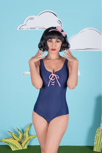 Criss-Cross Navy One Piece Bathing Suit