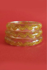 Bow & Crossbones - Esma Thin Rick Rack Retro Fakelite Bangle - Gold & Clear