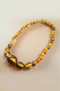 Bow & Crossbones - Fay Retro Fakelite Beaded Necklace - Tortoiseshell