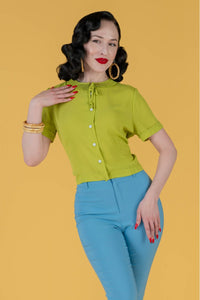 INGRID 1940S RETRO BLOUSE IN CHARTREUSE - ALSO AVAILABLE IN PLUS SIZE