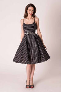 PEGGY RETRO CIRCLE DRESS IN BLACK AND WHITE POLKA-DOT