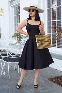 Peggy Retro Circle Dress in Black