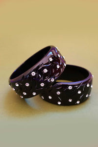 Bow & Crossbones - Rita Retro Fakelite Diamanté Bangle - Black