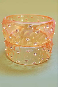 Bow & Crossbones - Rita Retro Fakelite Diamanté Bangle - Gold