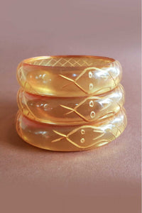 Bow & Crossbones - Sally Snake Retro Charmer Fakelite Bangle - Apple