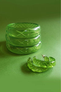 Sally Snake Retro Charmer Fakelite Bangle - Green