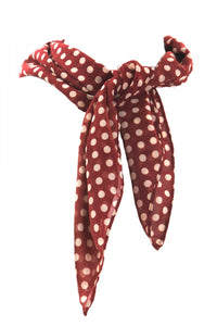 Scarf Brown with Beige Polka Dots