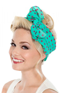 Scarf in Turquoise with Pink Polka Dots