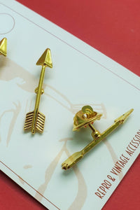 Bow & Crossbones - Bonnie Arrow Single Pin Brooch - Golden