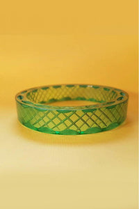 Bow & Crossbones - Snake Charmer Retro Carved Fakelite Bangle - Green