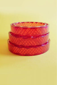 Bow & Crossbones - Snake Charmer Retro Carved Fakelite Bangle - Red