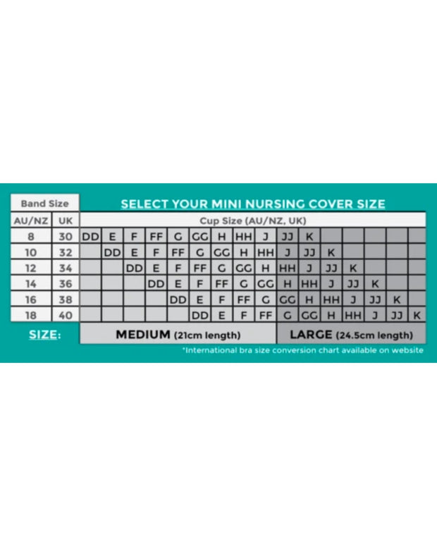 Full Embrace Mini Nursing Cover Size Chart