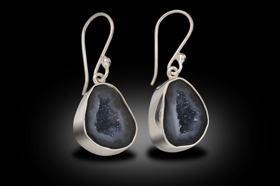 Sterling Silver Druzy Dangle Earrings