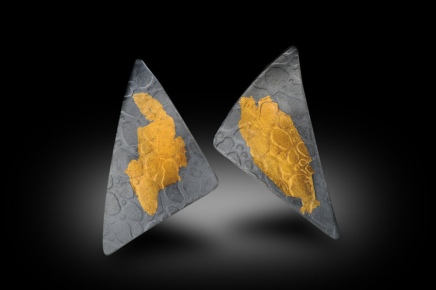 Triangle Oxidized/Gold Earrings
