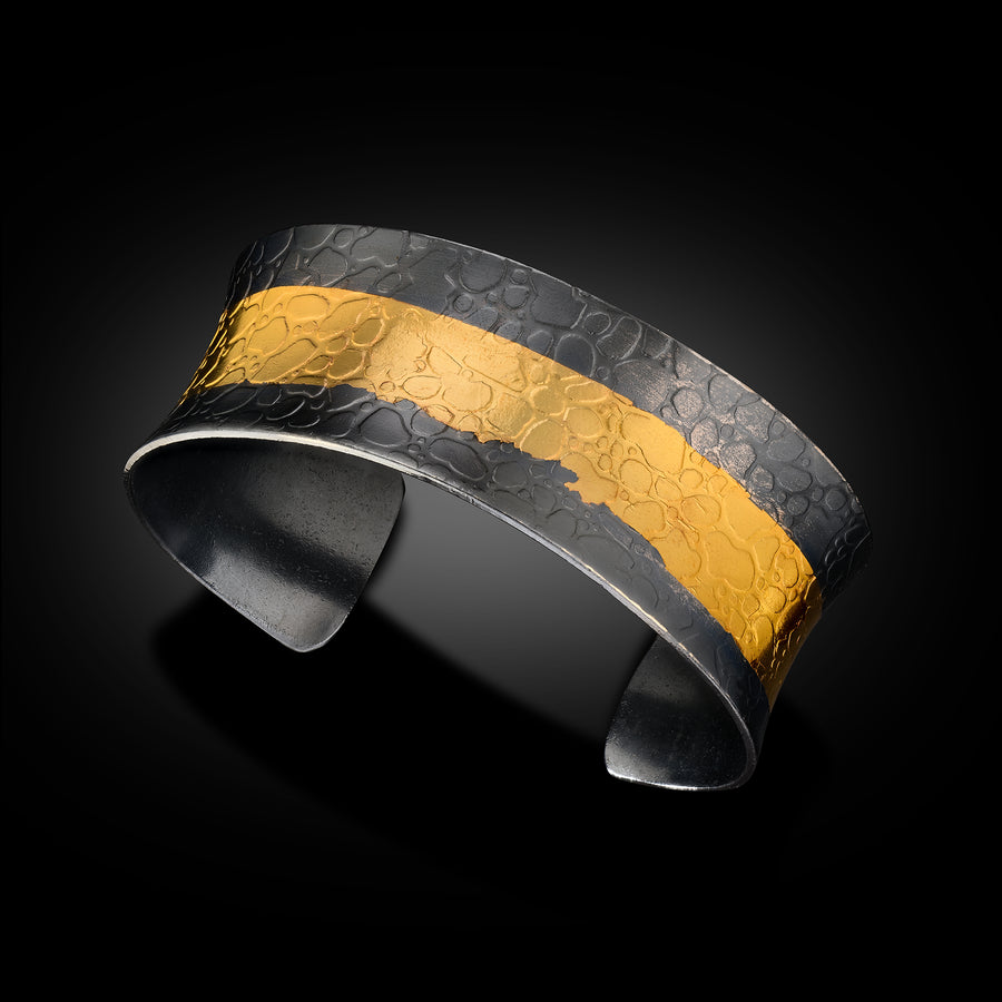 Thick 24 Karat Gold/Oxidized Sterling Cuff