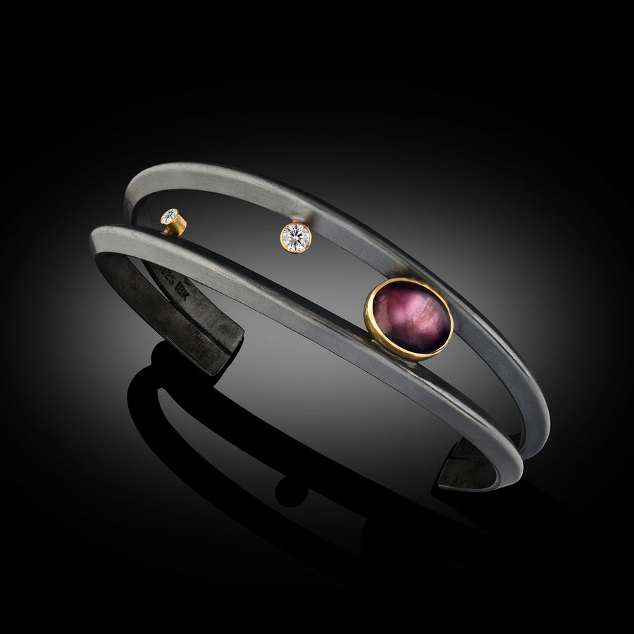 Dual Band Oxidized Sterling/18 Karat Gold - Ruby and Diamond Cuff