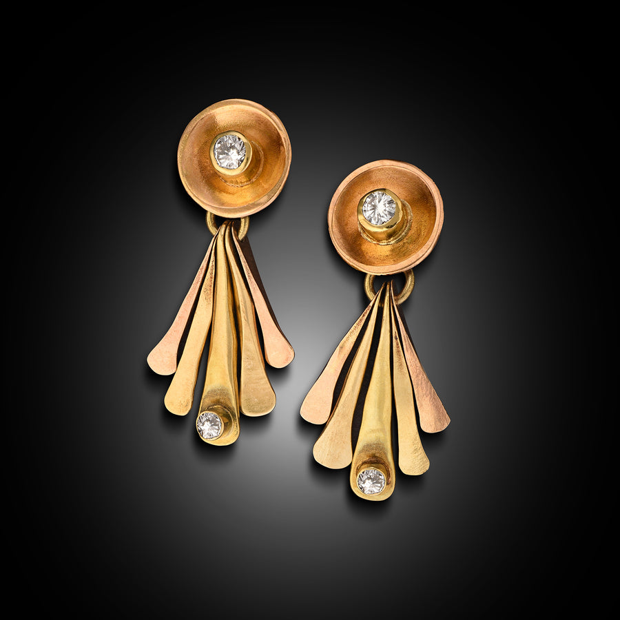 Kinetic 18 Karat Gold and F, VS Diamond Earrings