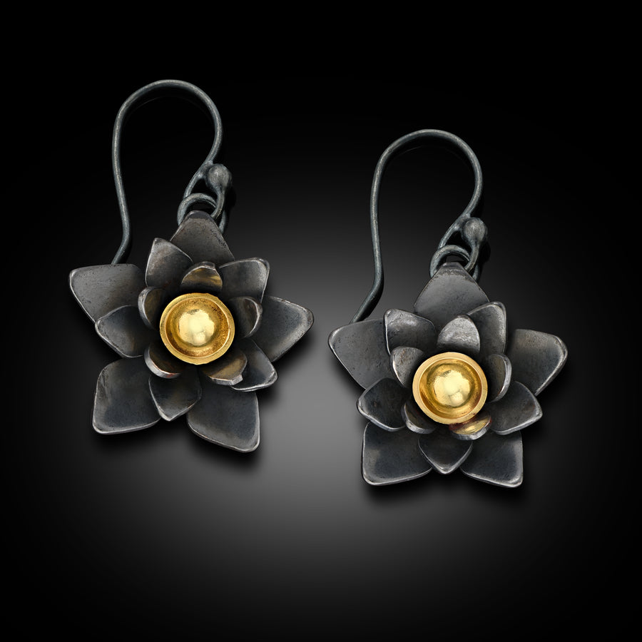 Small Oxidized Sterling Silver and 18K Gold Lotus Flower Dangle Earrings