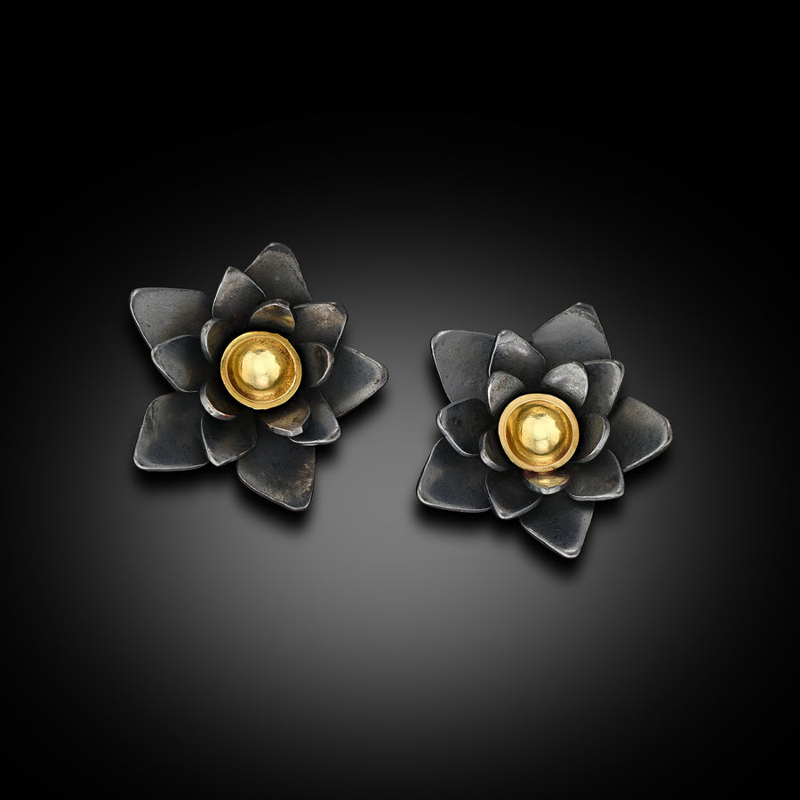 Small Lotus Flower Stud Earrings Oxidized Sterling and 18 Karat Gold