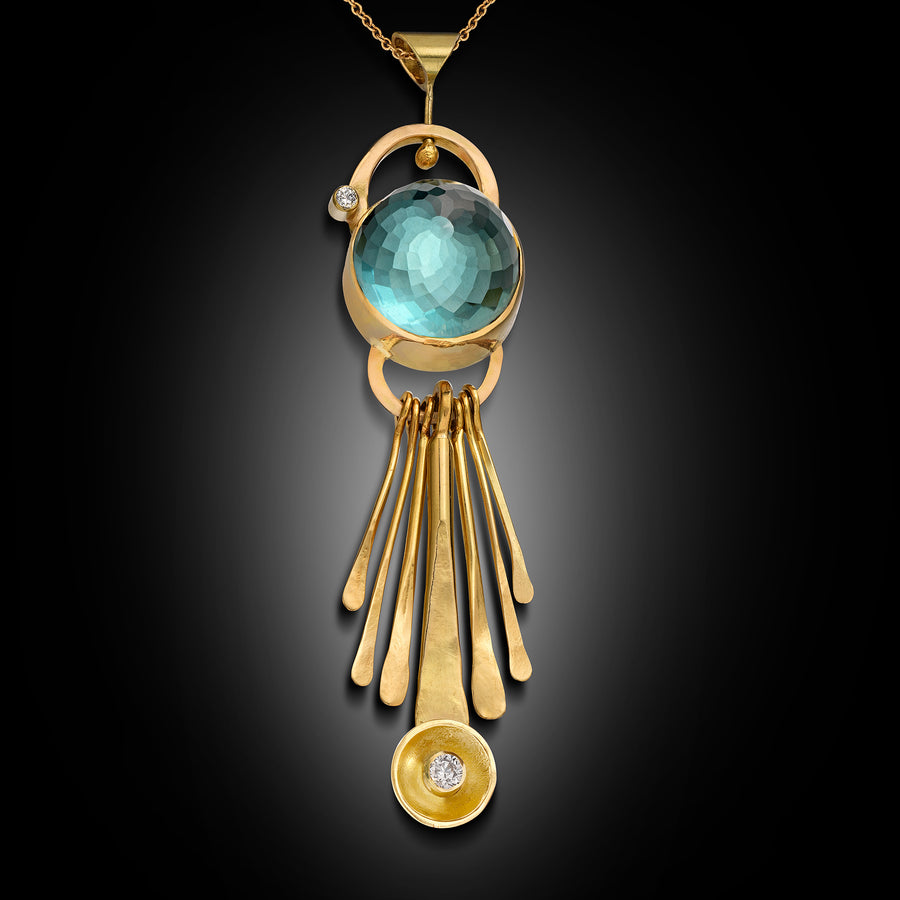Kinetic 18 Karat Gold Necklace With Precious Stone and Diamonds