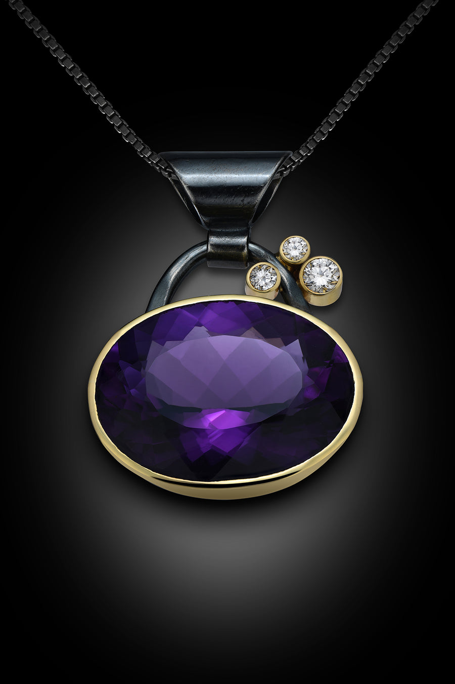 Amethyst 18K Gold, Oxidized Sterling Silver and F, VS Diamond Pendant