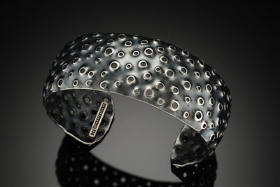 Thin Oxidized Sterling Reef Cuff