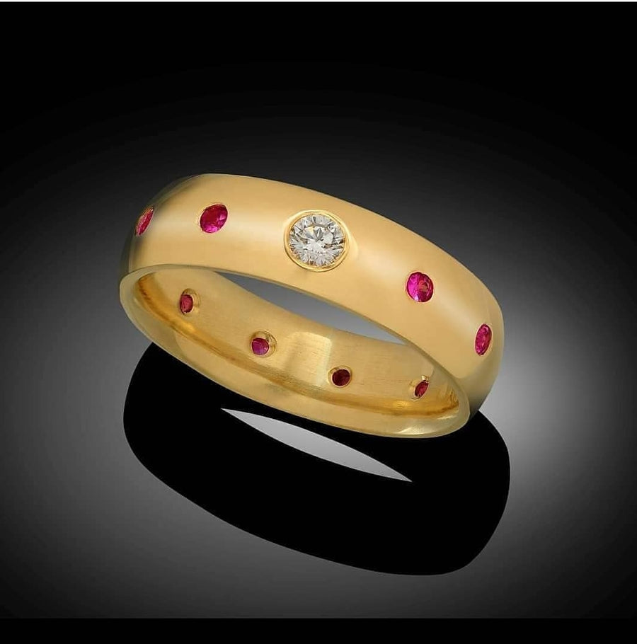 Diamond and Ruby 18K Gold Ring