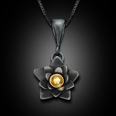 Small Oxidized Silver and 18K Gold Lotus Flower Pendant