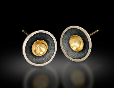 Sterling Silver and 18 Karat Gold Circle Stud Earrings