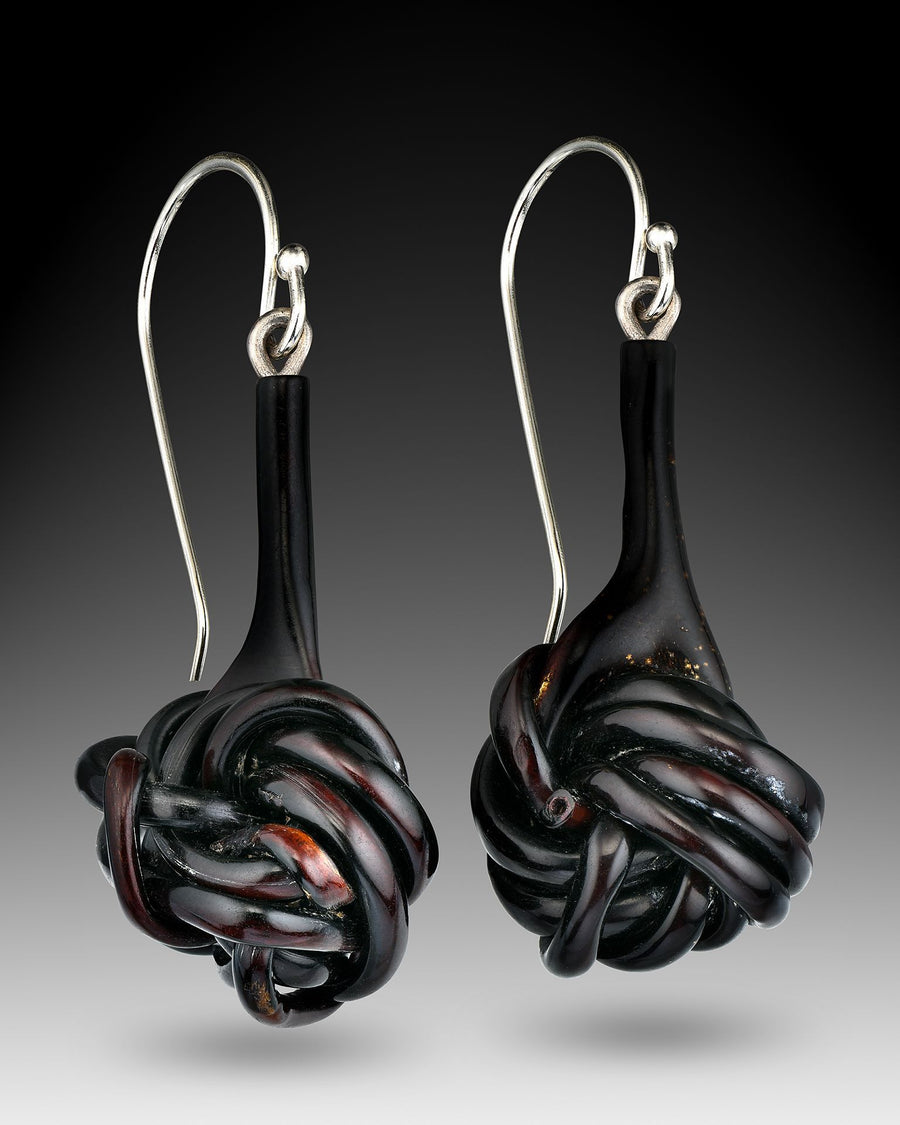 Black Coral and Sterling Silver Earrings