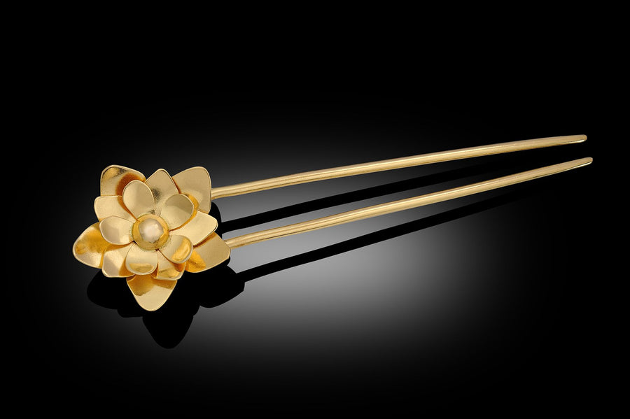 HaLo Gold Lotus Flower Hair Pin