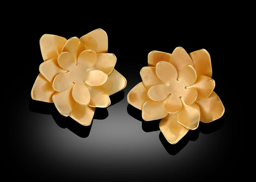 HaLo Gold Lotus Flower Stud Earrings