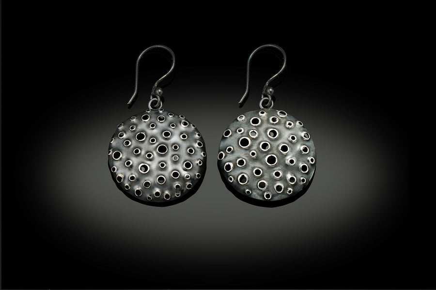 Small Oxidized Sterling Silver Reef Earrings