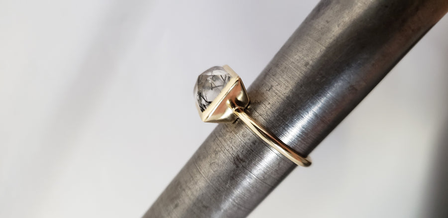 Tourmalated Quartz 14K Gold Ring
