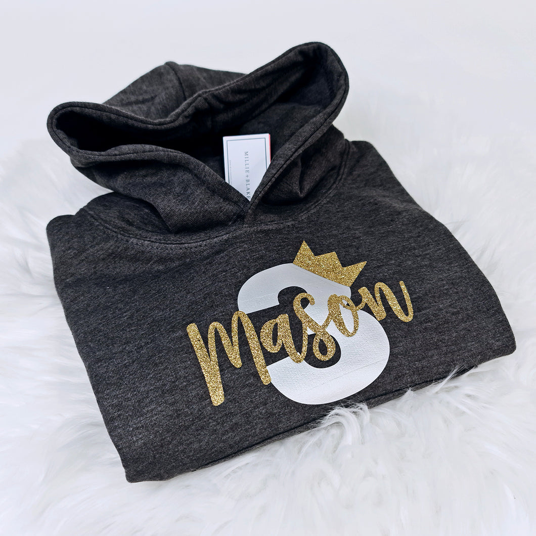 Crown Birthday Number Name Boy Personalised Hoodie