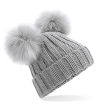 Load image into Gallery viewer, Grey Embroidered Double Pom Pom Hat