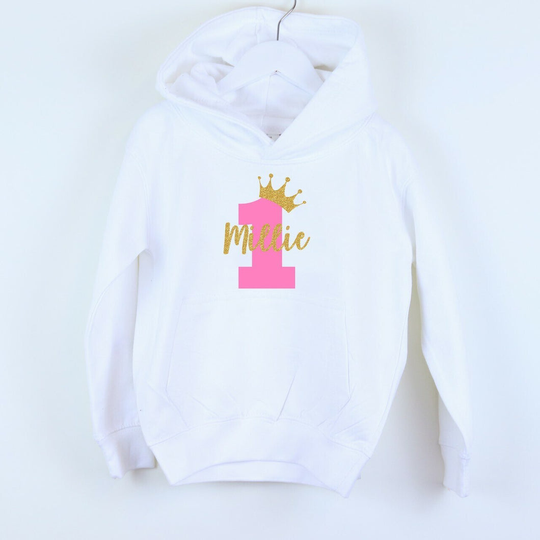 Crown Birthday Number Name Personalised Hoodie