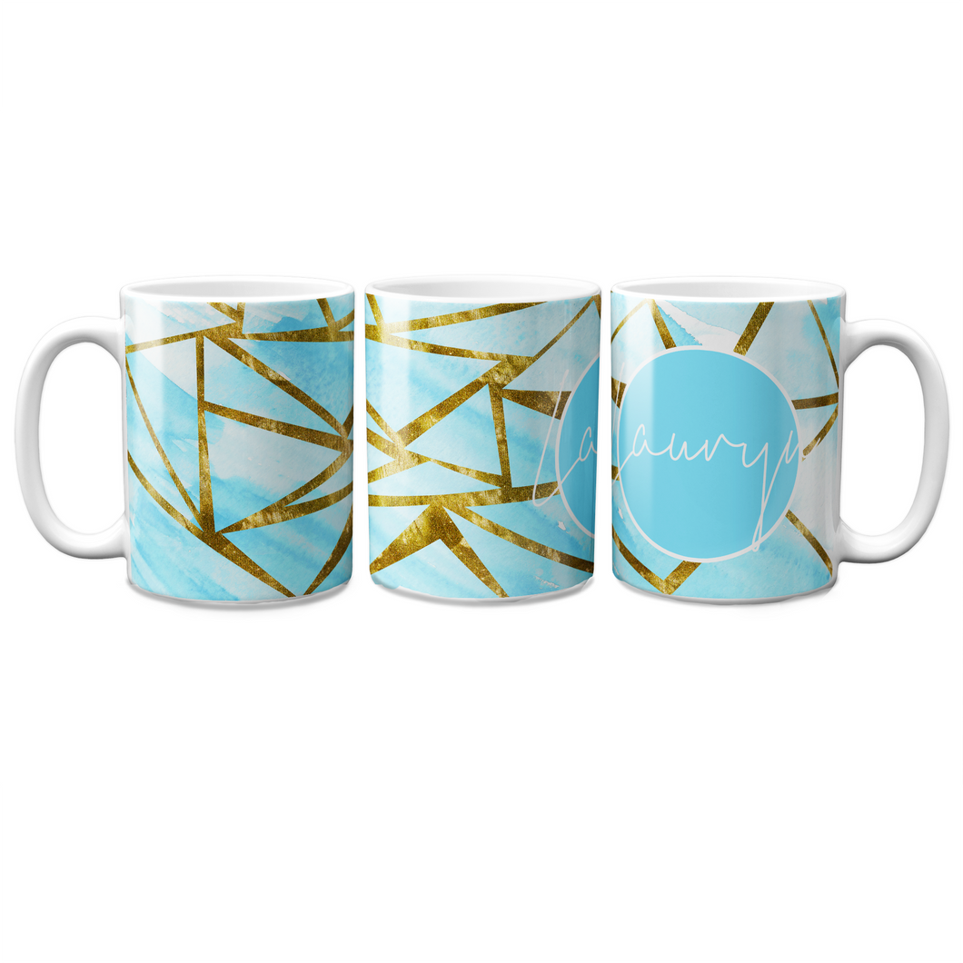 Blue Geo Personalised Mug