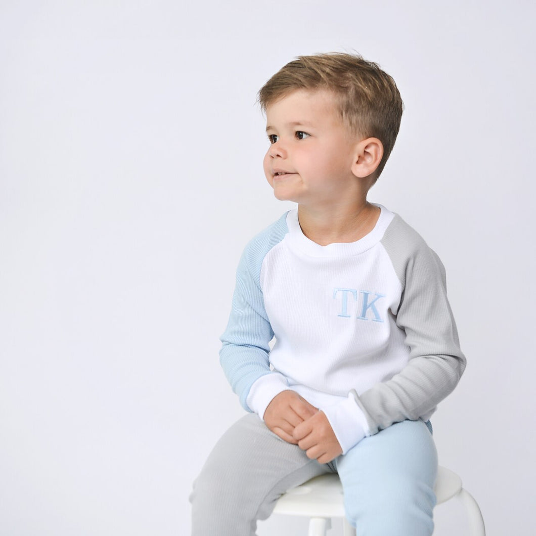 White, Dove & Baby Blue Mix & Match Ribbed Lounge Set (Made to Order)