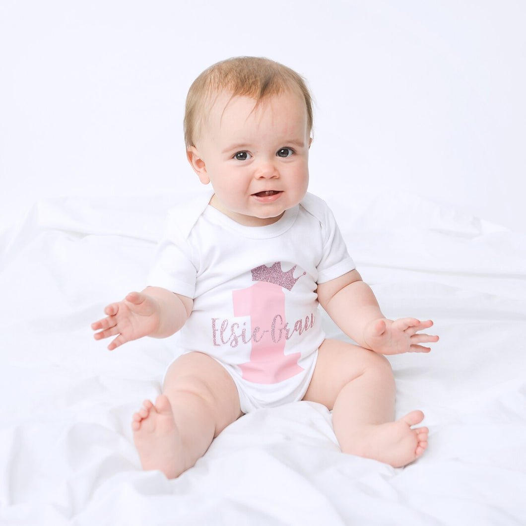 Crown Birthday Name Number Personalised Bodysuit