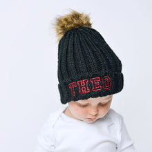 Load image into Gallery viewer, Black Embroidered Faux Fur Pom Pom Hat