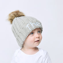 Load image into Gallery viewer, Light Grey Embroidered Faux Fur Pom Pom Hat