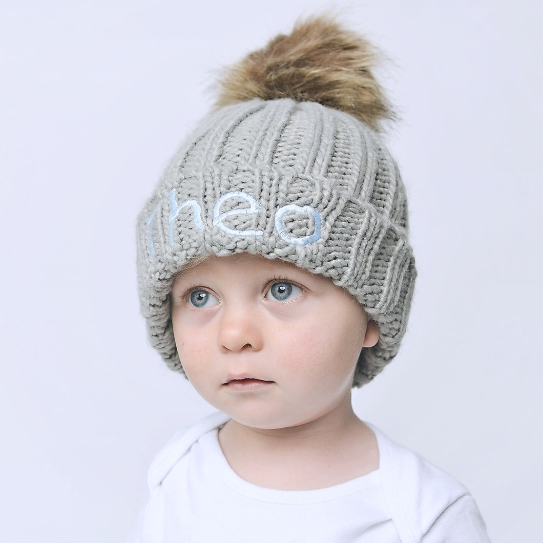 Light Grey Embroidered Faux Fur Pom Pom Hat