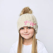 Load image into Gallery viewer, Oatmeal Embroidered Faux Fur Pom Pom Hat