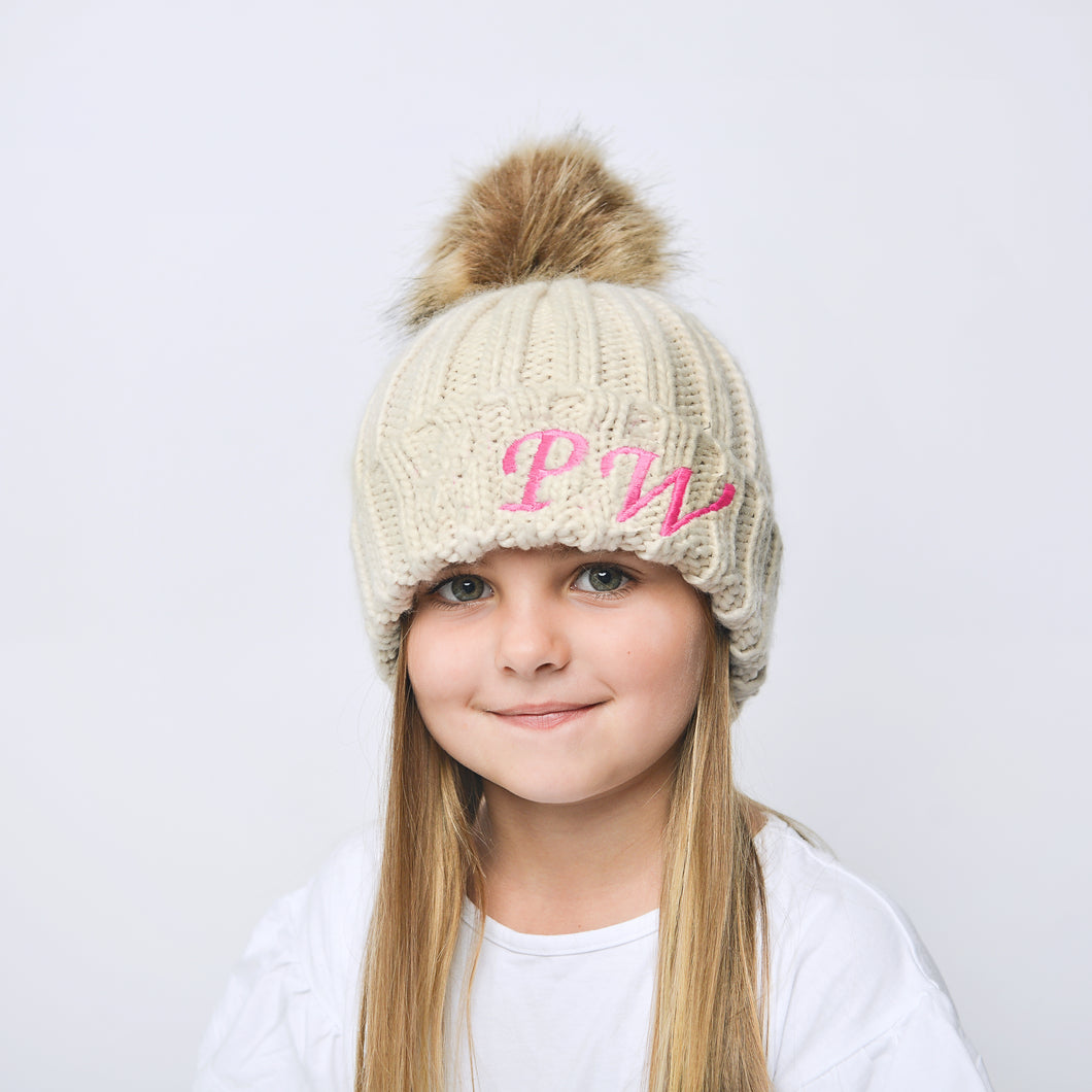 Oatmeal Embroidered Faux Fur Pom Pom Hat