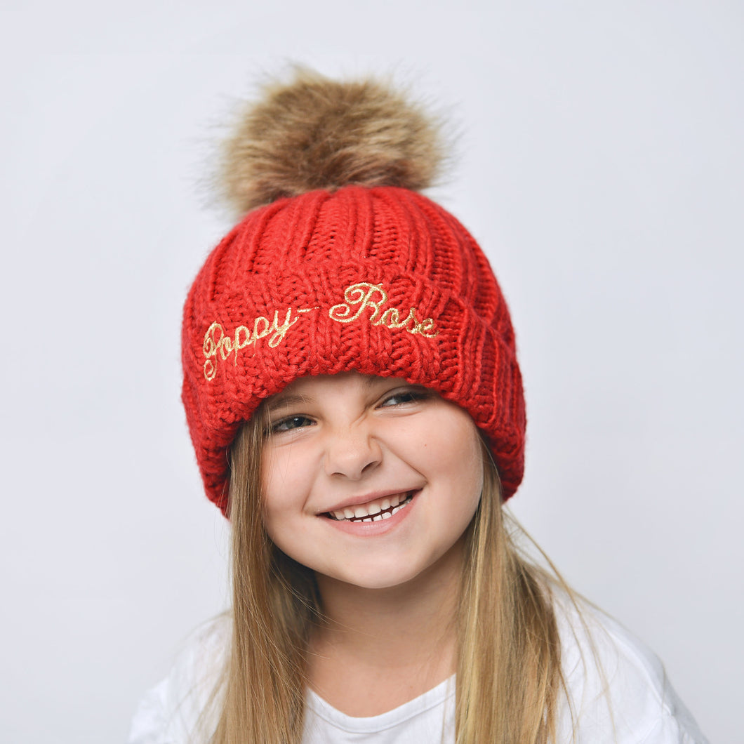 Red Embroidered Faux Fur Pom Pom Hat